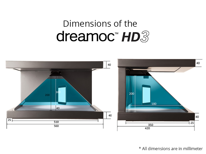 Dimensions of the Dreamoc HD3 pyramid