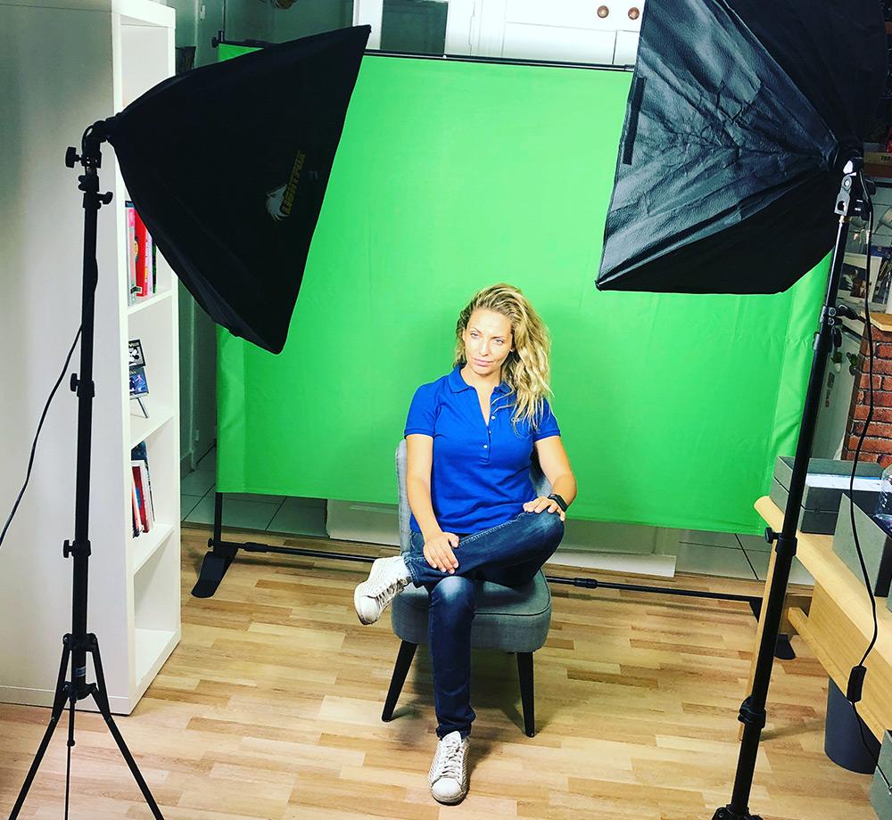 Studio vidéo avec fond vert