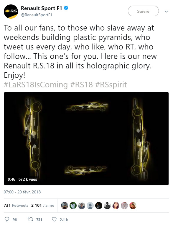 Buzz de la vidéo holographique de la Renault R.S.18 sur Twitter