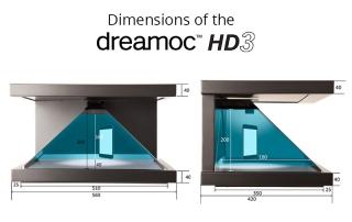Dimensions of the Dreamoc HD3 pyramid