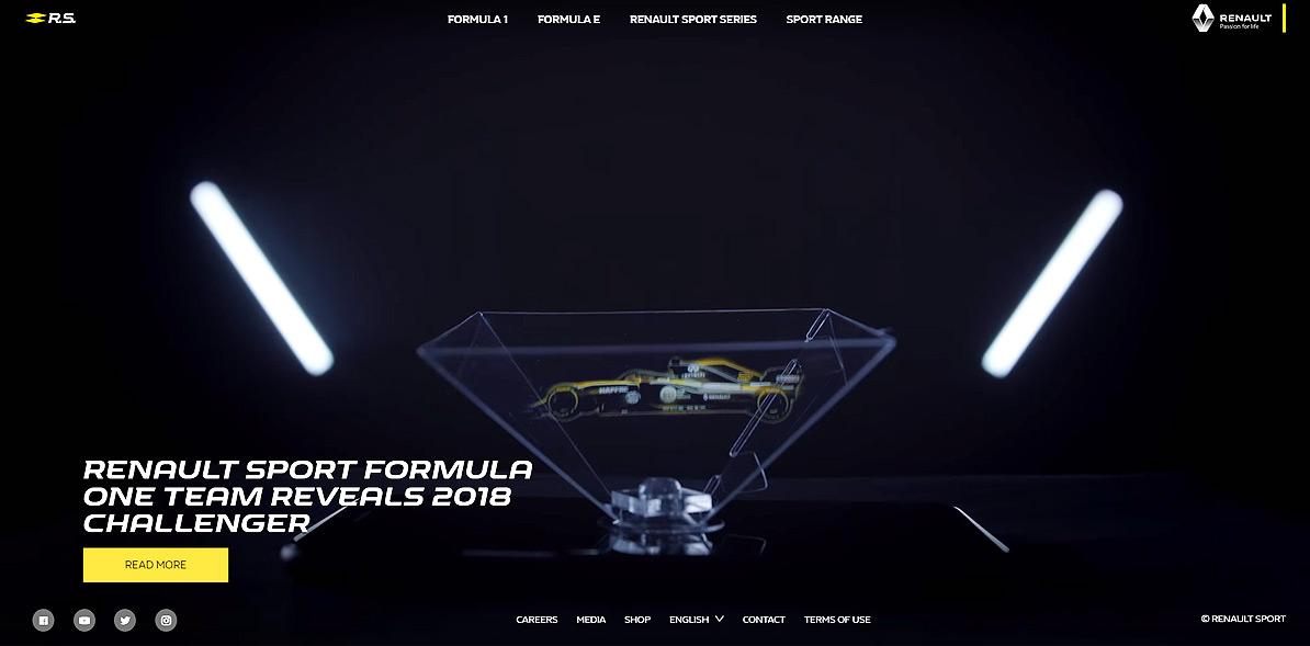 L'hologramme Magic Hologram de la R.S.18 en page d'accueil du site Renault Sport !