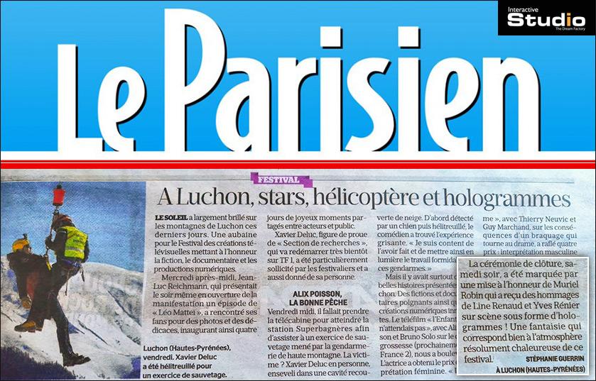 Article dans le magasin Le Parisien sur les hologrammes de Luchon