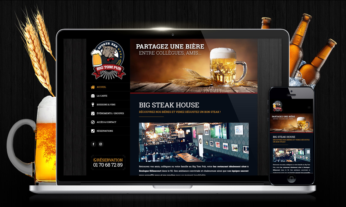 Big Tom Pub / Création de site web bar restaurant pub