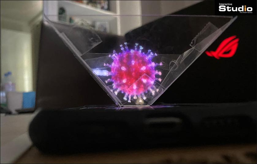 Fabriquez un projecteur holographique pour smartphone et visualisez le Virus COVID-19 en 3D