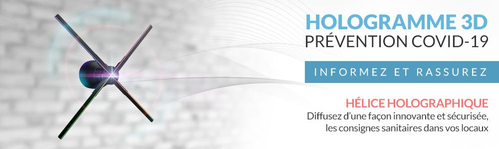 Hélice holographique prévention COVID-19 Gestes Barrières HYPERVSN