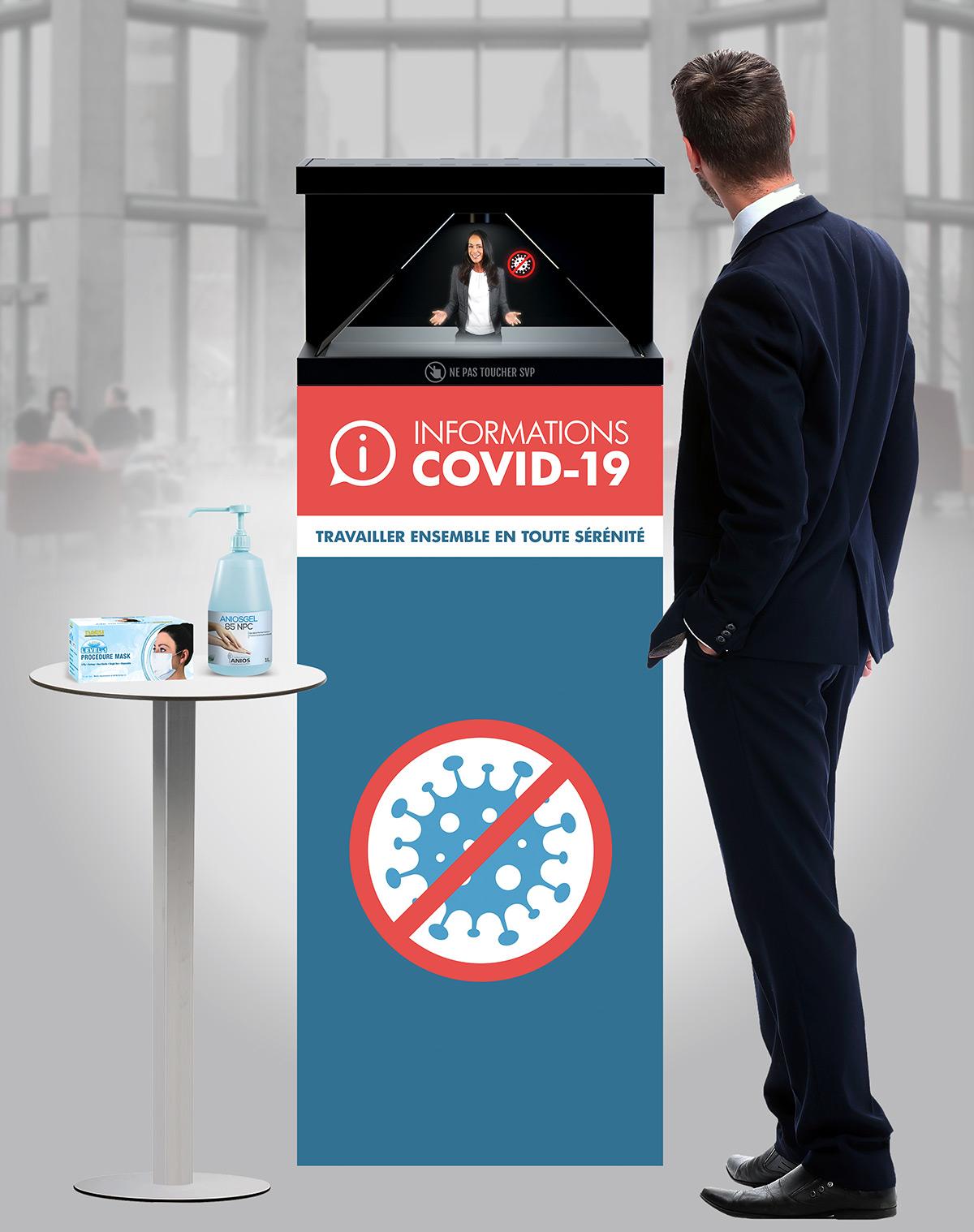 Borne holographique prévention COVID-19