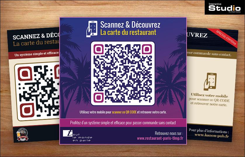 Création de QR Code pour les restaurants, bar Hôtels, carte sans contact sécurité COVID19