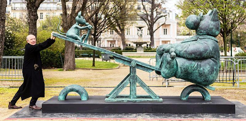 Les sculptures de Geluck sur les Champs Elysées